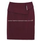 กระโปรงแฟชั่น กระโปรงทำงาน Diagonal Ruffles Edge Skirt กระโปรงสีม่วงเปลือกมังคุด {งานตัดเย็บคุณภาพ}