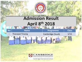 ประกาศผลสอบ IP Cambridge(Year8) วันที่ 8 เมษายน 2561