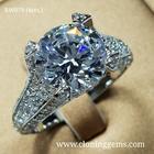 แหวนเพชร 4 กะรัต ดีไซน์หรูหราอลังการ สไตล์ยุโรป ตัวเรือนเงินแท้ 92.5% ชุบทองคำขาว