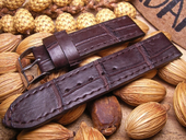 Strap For Omega Watch.Croco Matts Brown Color.