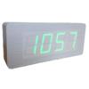 นาฬิกาตั้งโต๊ะ ลายไม้ขาว แบบบาง รุ่น W6016 (ไฟสีเขียว)