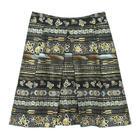 กระโปรงแฟชั่นทรงบาน กระโปรงทำงาน Volume Pin Tuck Skirt ผ้าคอตต้อนญี่ปุ่นพิมพ์ลายกราฟฟิกดอกกุหลาบโทนน้ำตาลเข้ม